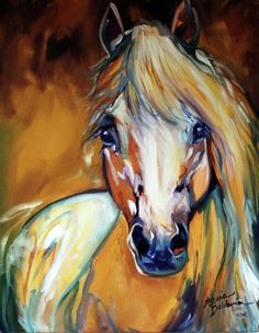 Palomino wild abstract  - Horse Paintings by Marcia Baldwin