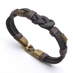Buy Tribal Leather Wristband Surf Black Mens Bracelet by Tera Jewelers on OpenSky