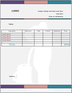 Carpet Cleaning Invoice Template 8 Business Professional Upholstery
