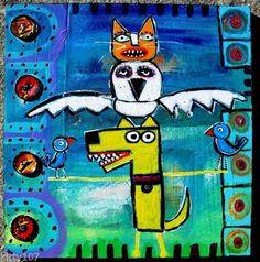 Tracey Ann Finley Original Raw Brut Folk Collage Painting CAT OWL DOG TOTEM POLE