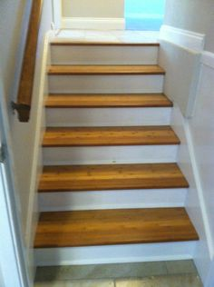 Bamboo Stair Treads With Lewan Plywood Risers Painted And Trimmed With Shoe  Molding.