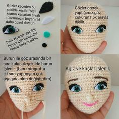Nose Shaping For Amigurumi Cro Though Not An English Tutorial, This Written Pattern Will Be Helpful When I Want To Create A Shapely Face.The Band Amigurumi Crochet Boys Buzztmz - Diy Crafts - DIY & Crafts Crochet Flower Tutorial, Crochet Doll Pattern, Crochet Dolls, Crochet Eyes, Crochet Birds, Doll Head, Doll Face, Crochet For Boys, Eye Tutorial
