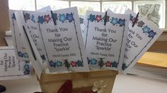 """We made these patient appreciation gifts for June/July.  """"Thank you for making our practice 'sparkle' """" and included sparklers."""