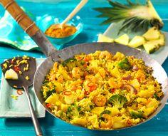 Rezept Gebratener Reis mit Curry und Ananas