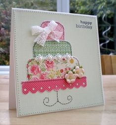 absolutely beautiful applique style card by Blush Crafts - sew it Fabric Postcards, Fabric Cards, Paper Cards, Handmade Birthday Cards, Happy Birthday Cards, Birthday Cake, Embroidery Cards, Sewing Cards, Pearl And Lace