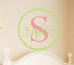 Circle Baby Name & Initial Monogram for Nursery by JustTheFrosting, $19.00