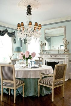,Striped chairs and duck egg blue