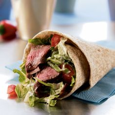 Chipotle chiles in adobo (a sauce made from puréed chiles, vinegar, and spices) flavor the steak in this spicy wrap. Look for them canned in the Latin American section of larger supermarkets.