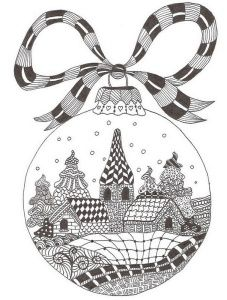 Zentangle Christmas Ornament town Scene - Free Coloring page for adults