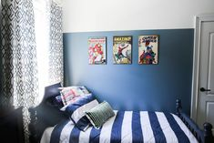 Bedding mix and match ideas for c's big boy room Baseball Hat Racks, Baseball Bed, Gold Bedroom Decor, Silver Bedroom, Baseball Room Decor, Baseball Decorations, Diy Hat Rack, Ikea, Home Decor Catalogs