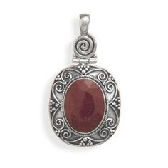925 Sterling Silver Oxidized Oval RoughCut Ruby Pendant * Learn more by visiting the image link.