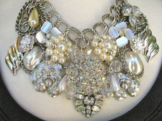 Statement Necklace, Repurposed Vintage Earring Necklace, Reclaimed Pearls, Rhinestones and Aurora Borealis - A Thousand Stars. $179.00, via Etsy.