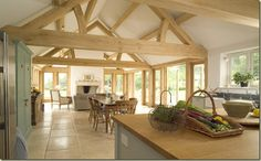 This is a gorgeous extension,they used thick Green Oak beams to keep with the original house.Amazing