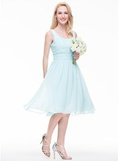 A-Line/Princess Scoop Neck Knee-Length Ruffle Regular Straps Sleeveless No Other Colors Spring Summer Fall General Plus Chiffon Bridesmaid Dress