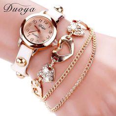 Duoya Luxurious Rose Gold Middle Leather-based Wristwatches Women Bracelet Chain Quartz Watch