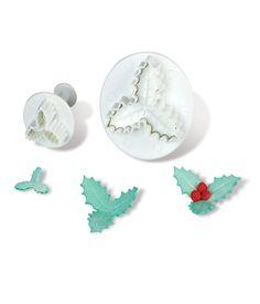 Dough - sugarpaste cutter mistletoe 3D set 2pcs. Dough Cutter, Mistletoe, Cookie Dough, Stud Earrings, 3d, Earrings, Stud Earring, Cake Batter