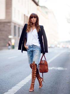 Tan gladiator heels #StreetStyle
