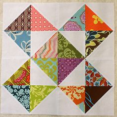 Love how the simple design lets all the colors and patterns shine. The block is from this pattern without the squaring up of squares to 4 (I don't want to waste another quarter inch of my scraps). So the unfinished block comes to a square. Triangle Quilt Pattern, Half Square Triangle Quilts, Quilt Block Patterns, Pattern Blocks, Square Quilt, Quilt Blocks, Scrappy Quilts, Easy Quilts, Mini Quilts