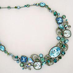 Sorrelli Ocean Collection Swirl Statement Necklace. Best selling bridal necklace & statement necklace in shades of blue & green. Find Sorrelli Jewelry at Perfect Details