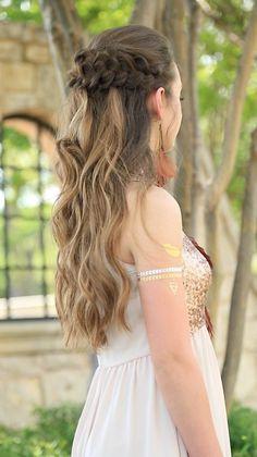Braided Half Up | Prom Hairstyles#cutegirlshairstyles #promhairstyle #coachellahairstyle #hairstyles #hairstyle #braids #CGHbraidedhalfup