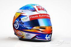 Helmet of Romain Grosjean, Haas Team. Photo by Romain Grosjean on February 2017 at Romain Grosjean helmet. Browse through our high-res professional motorsports photography Haas F1 Team, F1 2017, Racing Helmets, Motogp, Formula 1, Gears, Garage, Passion, Pictures