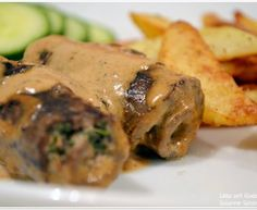 Fylld lövbiff Beef Recipes, Pork, Food And Drink, Chicken, Meat, Dinner, Kaka, Doggies, Pork Roulade