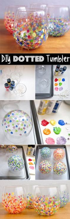 Make these cute dotted tumblers! Dot with q tips then bake in an oven to set.