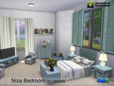 Coastal style bedroom with sleeping area and seating area with armchairs and table for TV, also has a large chest of drawers Found in TSR Category 'Sims 4 Adult Bedroom Sets'