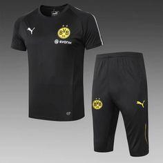 fb971c81 Borussia Dortmund 18/19 Black Short Sleeve Men Tracksuit Slim Fit