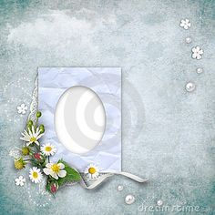 Vintage paper photo frame with flowers on textured background. Page to design photo books