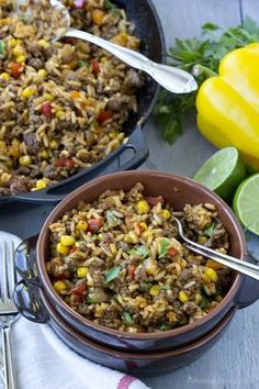 This Tex-Mex Beef & Rice Skillet is quick and easy enough for a weeknight dinner. With pre-cooked rice, ground beef, veggies and spicy seasonings, this 20 minute dish is a complete meal made all in one pan. One of our favorite meals around here is Fried R Beef Recipes For Dinner, Meat Recipes, Mexican Food Recipes, Cooking Recipes, Healthy Recipes, Family Recipes, Rice Recipes, Tex Mex, Beef Dishes