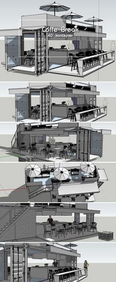 BASIC oN box container. Building A Container Home, Container Buildings, Container Architecture, Shipping Container Restaurant, Shipping Container Homes, Shipping Containers, Kiosk Design, Cafe Design, Container Coffee Shop
