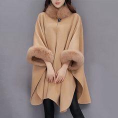 Trendy Elegant Faux Fur Patchwork Irregular Turtleneck Women Cloak Coats Online - NewChic Mobile