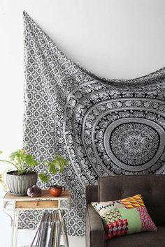 Hippie Wall Decor Bohemian Mandala Tapestry Gyspy Beach Blanket Wall Hanging  #Handmade
