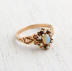 Antique 10K Rose Gold Victorian Opal & Seed Pearl Ring - Size 6 3/4 Fine Jewelry / Fiery Opal Flower