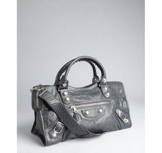 Balenciaga anthracite goatskin 'Giant Part Time' large bag