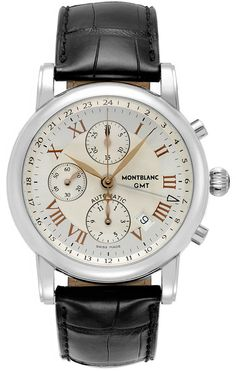 Montblanc Men's Swiss Automatic Chronograph Star GMT Black Leather Strap Watch 42mm 36967