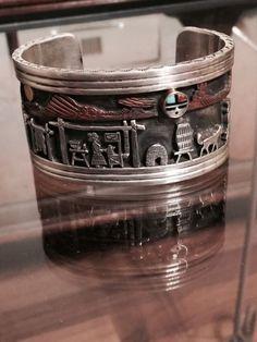 NAVAJO CLARENCE LEE 1952 - 2011 BRACELET SILVER & 14k GOLD STORYTELLER BRACELET Navajo Jewelry, Jewelry Art, Fine Jewelry, Bracelets For Men, Silver Bracelets, Bangle Bracelets, Turquoise Cuff, Turquoise Jewelry, American Indian Jewelry