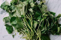 Sweet Potato Stir Fry, Sweet Potato Leaves, Vegetarian Side Dishes, Veggie Dishes, Veggie Recipes, Vegetarian Recipes, Healthy Recipes, Healthy Stir Fry