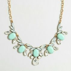 J. Crew Crystal and Mint Statement Necklace NWT, beautiful necklace, great for a Christmas present! J. Crew Jewelry Necklaces
