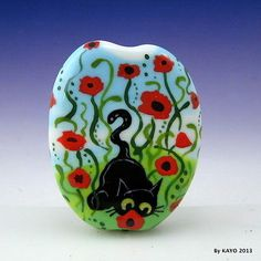 """Poppy Hunter"" 'Bykayo' A Handmade Cat Flower Lampwork Art Glass Focal Bead SRA | eBay<3<3<3AWESOME<3<3<3"