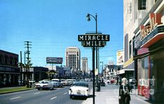 """The stretch of Wilshire Boulevard known as """"Miracle Mile,"""" Los Angeles, circa 1958 Vintage California, California Dreamin', California History, Hollywood Street, Miss The Old Days, Thing 1, Nyc, Los Angeles Area, City Of Angels"""