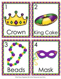 This fun Mardi Gras write the room activity would be great to use in a literacy… Space Activities, Kindergarten Activities, Writing Activities, Activities For Kids, Preschool Ideas, Mardi Gras Activities, Louisiana Mardi Gras, Mardi Gras Party, Picture Cards