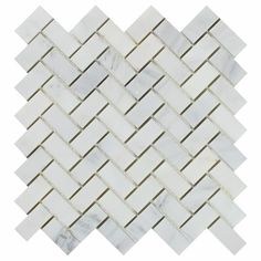 Oriental White Asian Statuary Marble 1 X 2 Herringbone Mosaic Tile Honed Backsplash