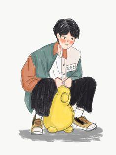 Boy Illustration, Character Illustration, Kpop Drawings, Cute Drawings, Cute Art Styles, Kpop Fanart, Anime Art Girl, Kawaii, Aesthetic Art