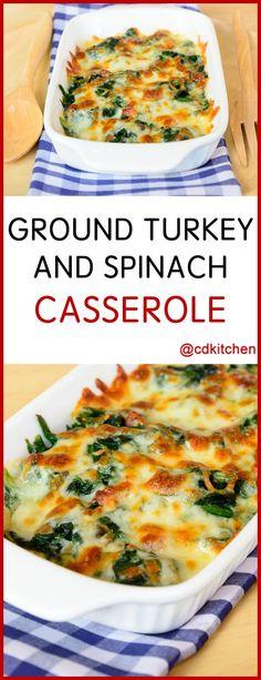 Ground Turkey And Spinach Casserole - Recipe is made with mozzarella cheese, eggs, white pepper, ground turkey or pork, vegetable oil, onion, cream of chicken soup, frozen leaf spinach, salt | CDKitchen.com