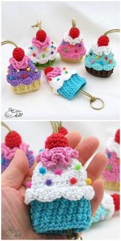You'll Love These Crochet Cupcake Pattern IdeasYou can find Crochet cupcake and more on our website.You'll Love These Crochet Cupcake Pattern Ideas Small Crochet Gifts, Love Crochet, Thread Crochet, Crochet Yarn, Crochet Owls, Crochet Food, Crochet Animals, Crochet Keychain Pattern, Crochet Headband Pattern