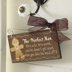 We just love this sweet wooden hanging sign with a gingerbread man on it. It comes with a metal hanger, organza ribbon and highlighted in glitter. A great gift or just treat yourself.