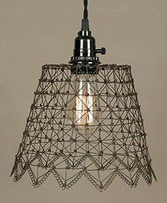 Country green over rust FRENCH WIRE hanging pendant  light //nice// PLUG IN LIGHT