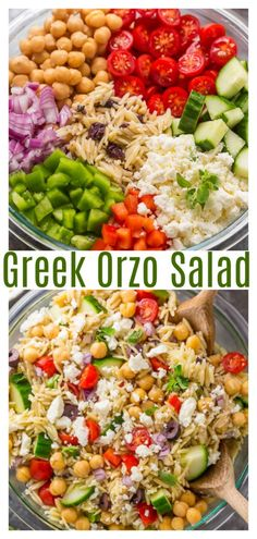 Greek Orzo Pasta Salad is light, refreshing, and so flavorful! Always a hit at parties and potlucks! for parties Greek Orzo Salad - Baker by Nature Orzo Salad Recipes, Summer Salad Recipes, Orzo Pasta Salads, Best Summer Salads, Spinach Salads, Asparagus Salad, Healthy Summer, Barley Salad, Soup And Salad
